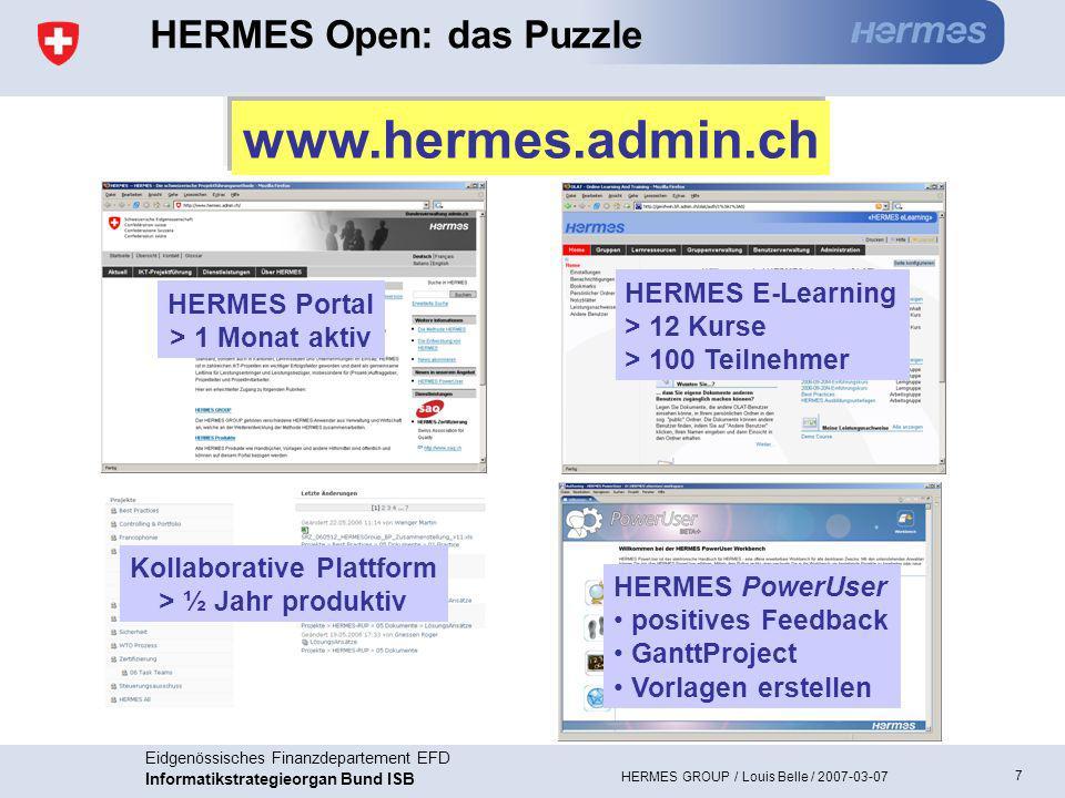 7 Eidgenössisches Finanzdepartement EFD Informatikstrategieorgan Bund ISB HERMES GROUP / Louis Belle / 2007-03-07 HERMES E-Learning > 12 Kurse > 100 Teilnehmer Kollaborative Plattform > ½ Jahr produktiv HERMES Portal > 1 Monat aktiv HERMES Open: das Puzzle HERMES PowerUser positives Feedback GanttProject Vorlagen erstellen www.hermes.admin.ch