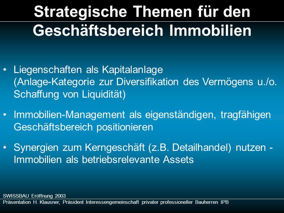 SWISSBAU Eröffnung 2003 Präsentation H. Klausner, Präsident Interessengemeinschaft privater professioneller Bauherren IPB Liegenschaften als Kapitalan