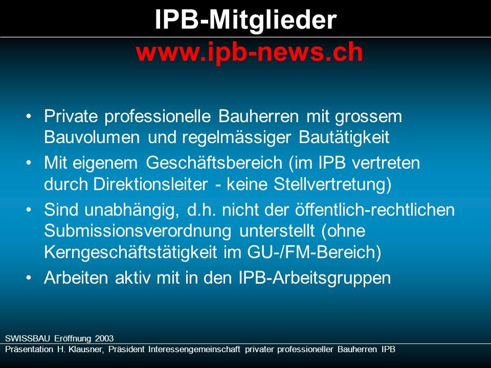 SWISSBAU Eröffnung 2003 Präsentation H. Klausner, Präsident Interessengemeinschaft privater professioneller Bauherren IPB Private professionelle Bauhe