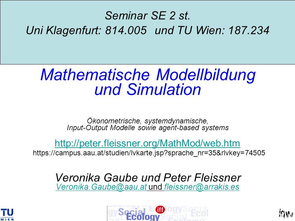Idealized view: matrix notation [amounts, unit prices] Z = { p i a ij x j } = Y = { p i y i } = Endnachfrage V = { v j x j } = Wertschöpfung VorleistungenBruttoproduktion X = {p i x i } x…amount (Stück, Anzahl), (column) p…unit price, v…unit value added (row) Zeilen: Ax + y = x Spalten: pA + v = p Summen: pAx + vx = px X = {p j x j }
