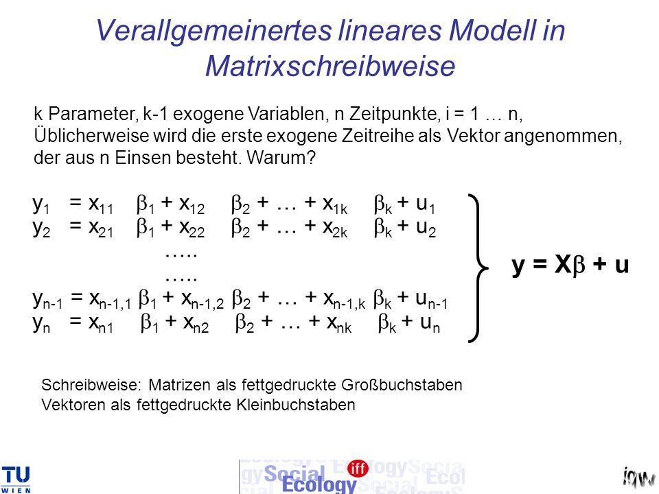 Verallgemeinertes lineares Modell in Matrixschreibweise y 1 = x 11 1 + x 12 2 + … + x 1k k + u 1 y 2 = x 21 1 + x 22 2 + … + x 2k k + u 2 ….. y n-1 =