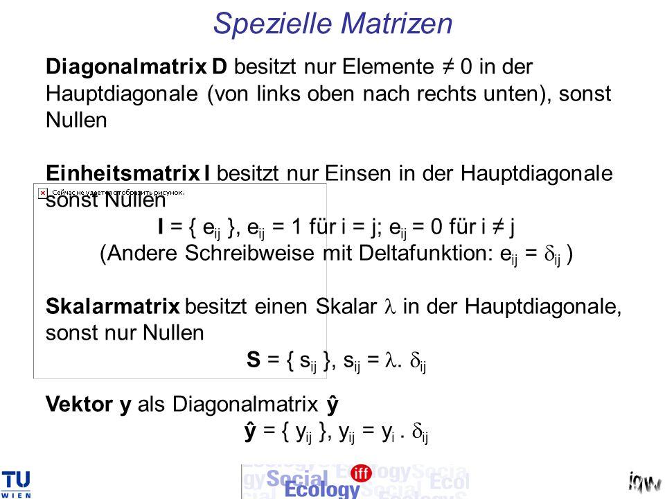 Spezielle Matrizen Diagonalmatrix D besitzt nur Elemente 0 in der Hauptdiagonale (von links oben nach rechts unten), sonst Nullen Einheitsmatrix I bes