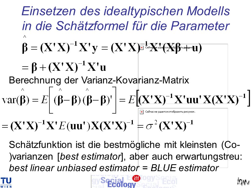 Einsetzen des idealtypischen Modells in die Schätzformel für die Parameter Berechnung der Varianz-Kovarianz-Matrix Schätzfunktion ist die bestmögliche