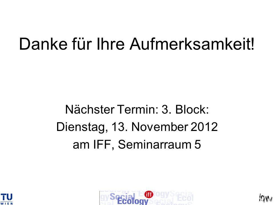 Danke für Ihre Aufmerksamkeit! Nächster Termin: 3. Block: Dienstag, 13. November 2012 am IFF, Seminarraum 5