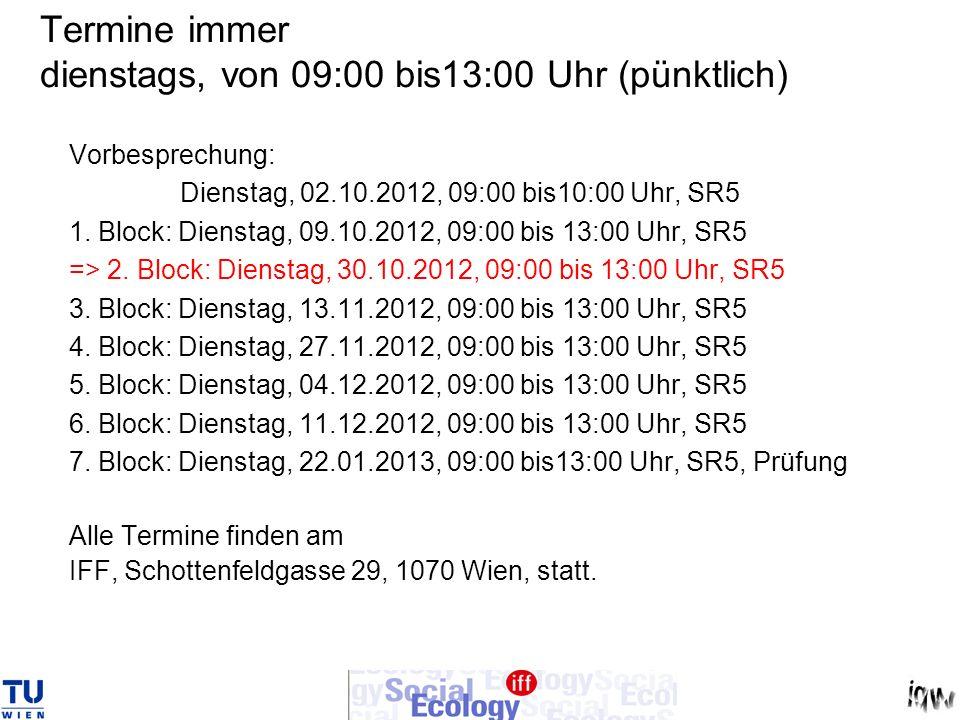 Termine immer dienstags, von 09:00 bis13:00 Uhr (pünktlich) Vorbesprechung: Dienstag, 02.10.2012, 09:00 bis10:00 Uhr, SR5 1. Block: Dienstag, 09.10.20