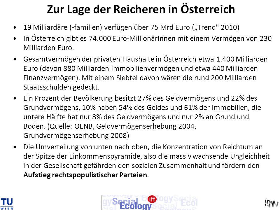 Zur Lage der Reicheren in Österreich 19 Milliardäre (-familien) verfügen über 75 Mrd Euro (Trend