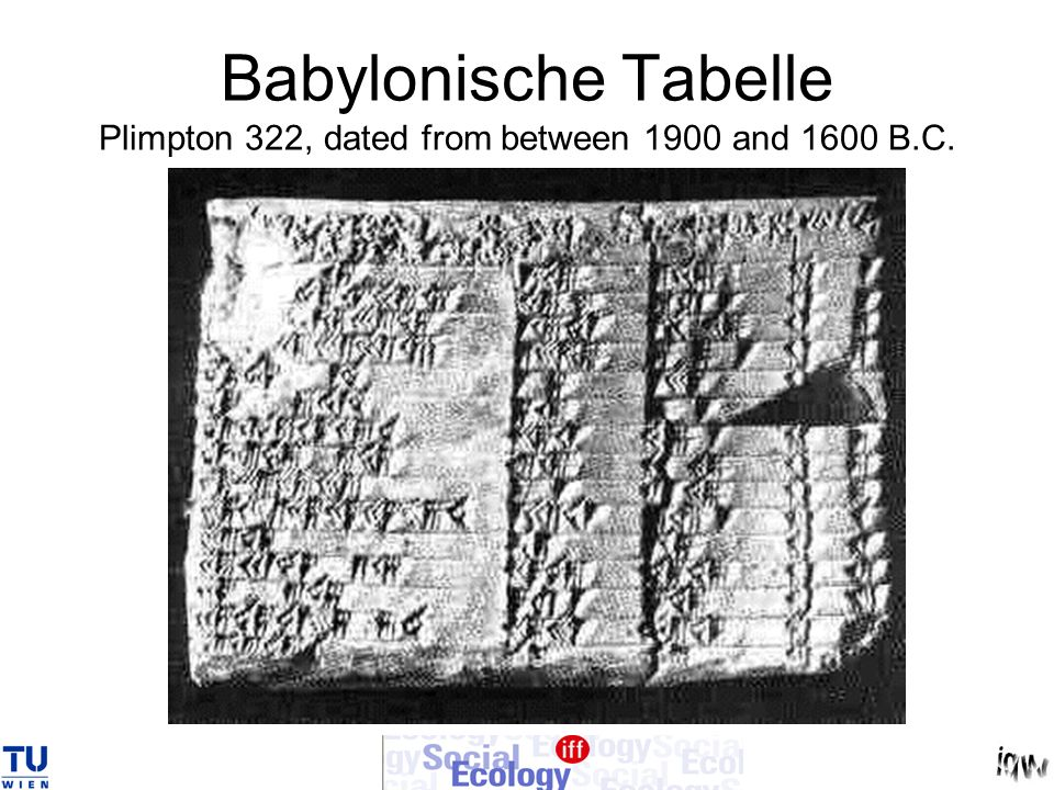 Babylonische Tabelle Plimpton 322, dated from between 1900 and 1600 B.C.