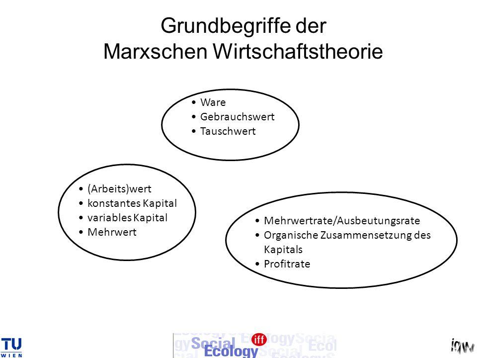 Grundbegriffe der Marxschen Wirtschaftstheorie Ware Gebrauchswert Tauschwert (Arbeits)wert konstantes Kapital variables Kapital Mehrwert Mehrwertrate/