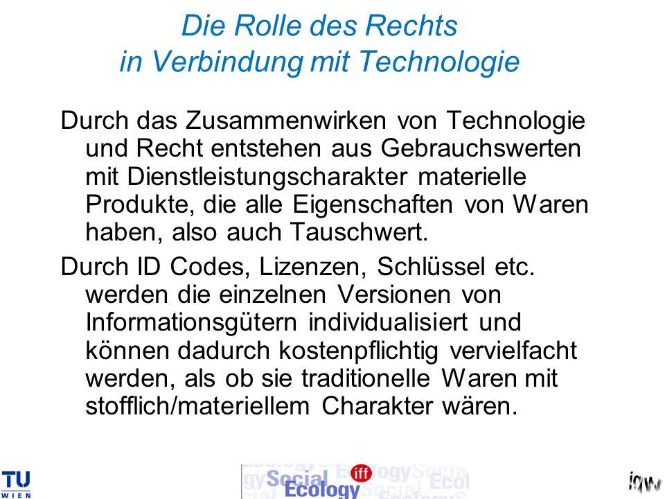 Die Rolle des Rechts in Verbindung mit Technologie Durch das Zusammenwirken von Technologie und Recht entstehen aus Gebrauchswerten mit Dienstleistung