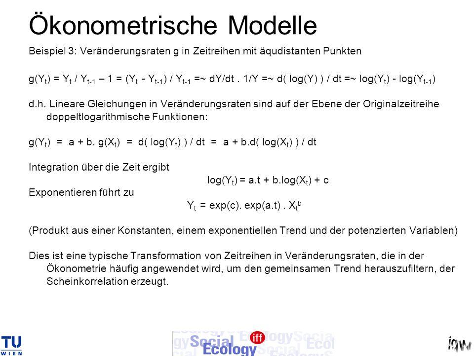 Ökonometrische Modelle Beispiel 3: Veränderungsraten g in Zeitreihen mit äqudistanten Punkten g(Y t ) = Y t / Y t-1 – 1 = (Y t - Y t-1 ) / Y t-1 =~ dY