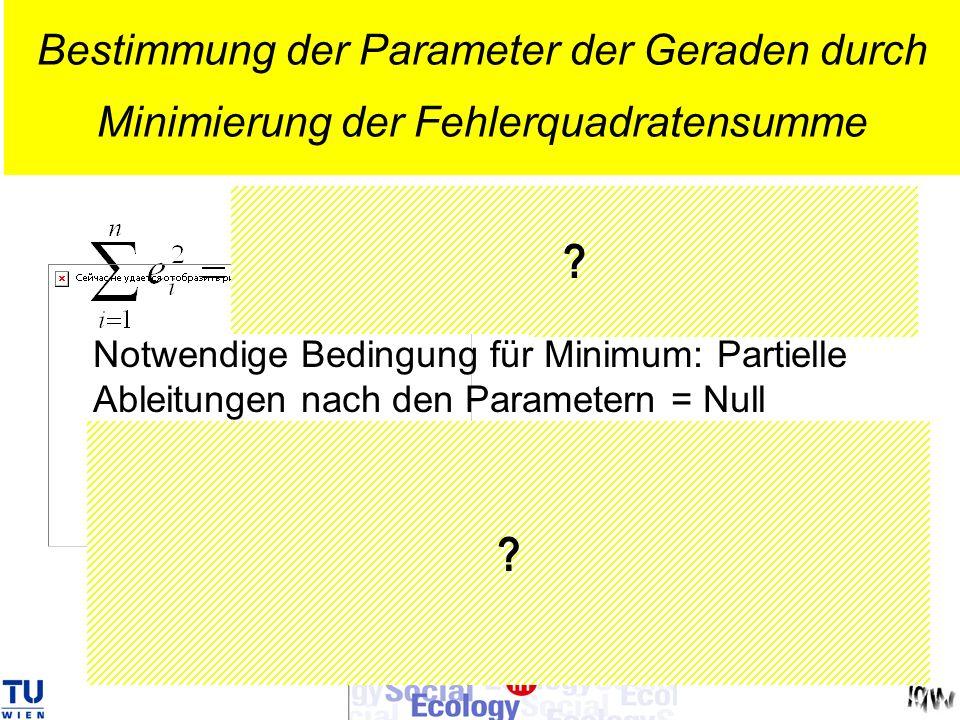 ? ? Bestimmung der Parameter der Geraden durch Minimierung der Fehlerquadratensumme Notwendige Bedingung für Minimum: Partielle Ableitungen nach den P