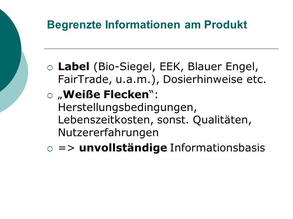 Begrenzte Informationen am Produkt Label (Bio-Siegel, EEK, Blauer Engel, FairTrade, u.a.m.), Dosierhinweise etc.