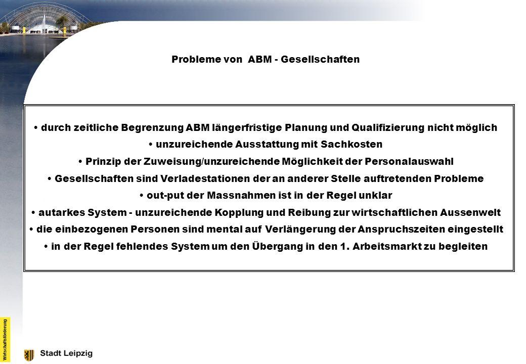 Probleme von ABM - Gesellschaften durch zeitliche Begrenzung ABM längerfristige Planung und Qualifizierung nicht möglich unzureichende Ausstattung mit