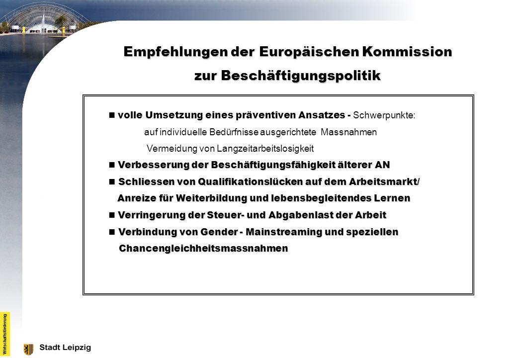 Empfehlungen der Europäischen Kommission zur Beschäftigungspolitik volle Umsetzung eines präventiven Ansatzes - Schwerpunkte: auf individuelle Bedürfn