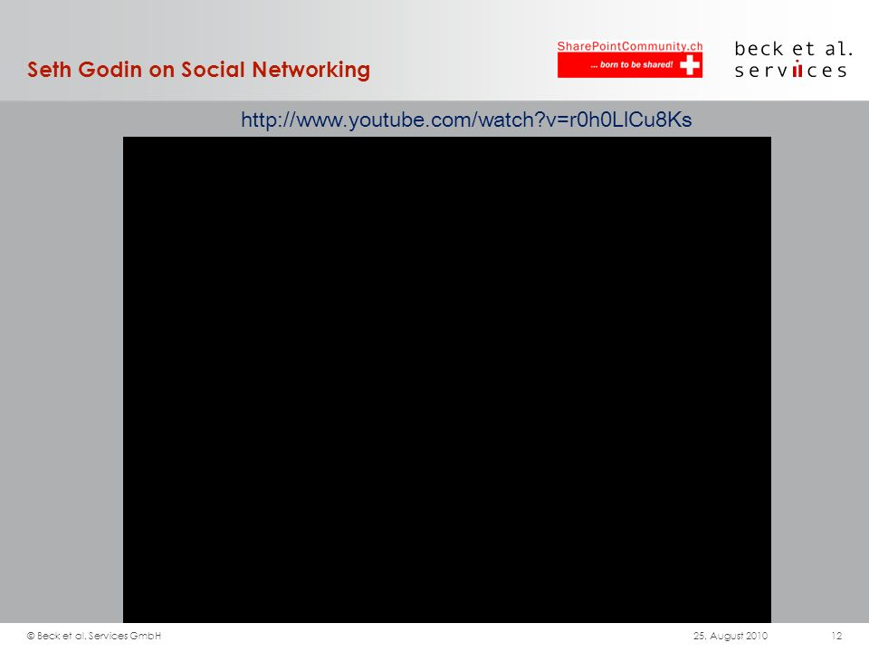 Seth Godin on Social Networking http://www.youtube.com/watch?v=r0h0LlCu8Ks 25.