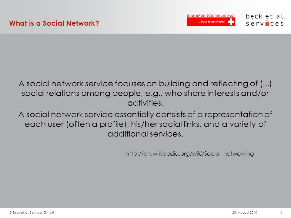 What is a Social Network? A social network service focuses on building and reflecting of (...) social relations among people, e.g., who share interest