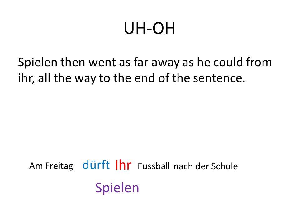 UH-OH Spielen then went as far away as he could from ihr, all the way to the end of the sentence. Spielen Ihr dürft Am Freitag Fussball nach der Schul