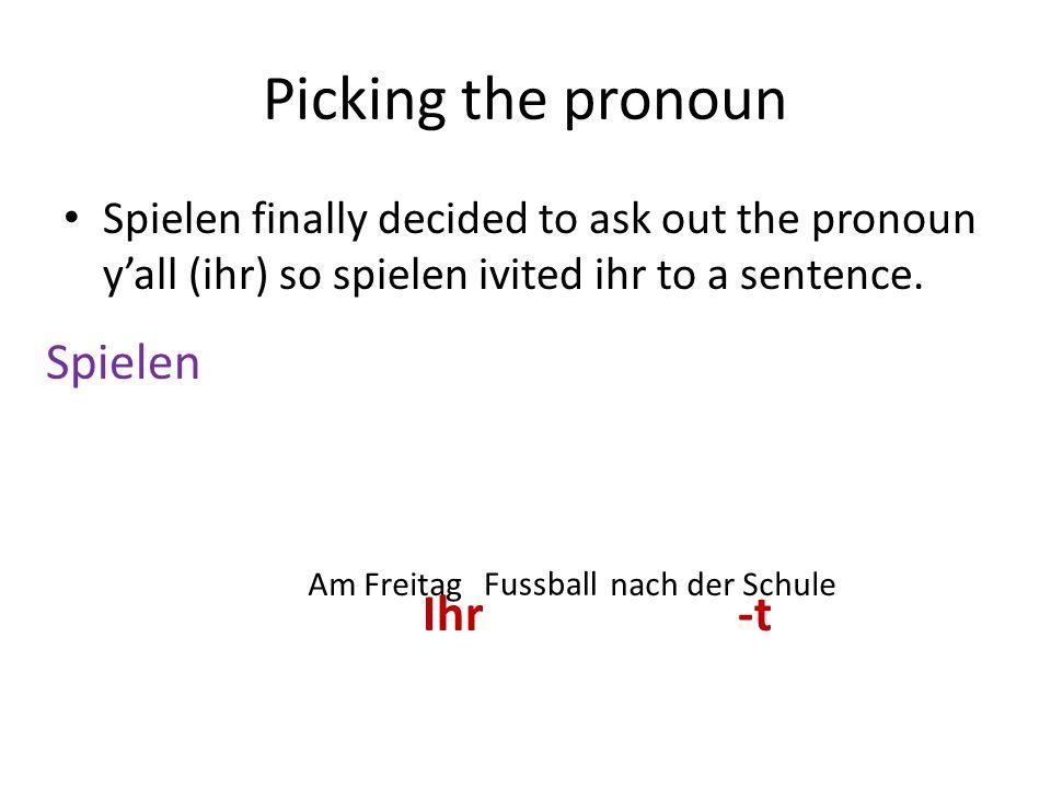 Picking the pronoun Spielen finally decided to ask out the pronoun yall (ihr) so spielen ivited ihr to a sentence. SpielenIch-e Du-st Er/sie/es-t Wir-