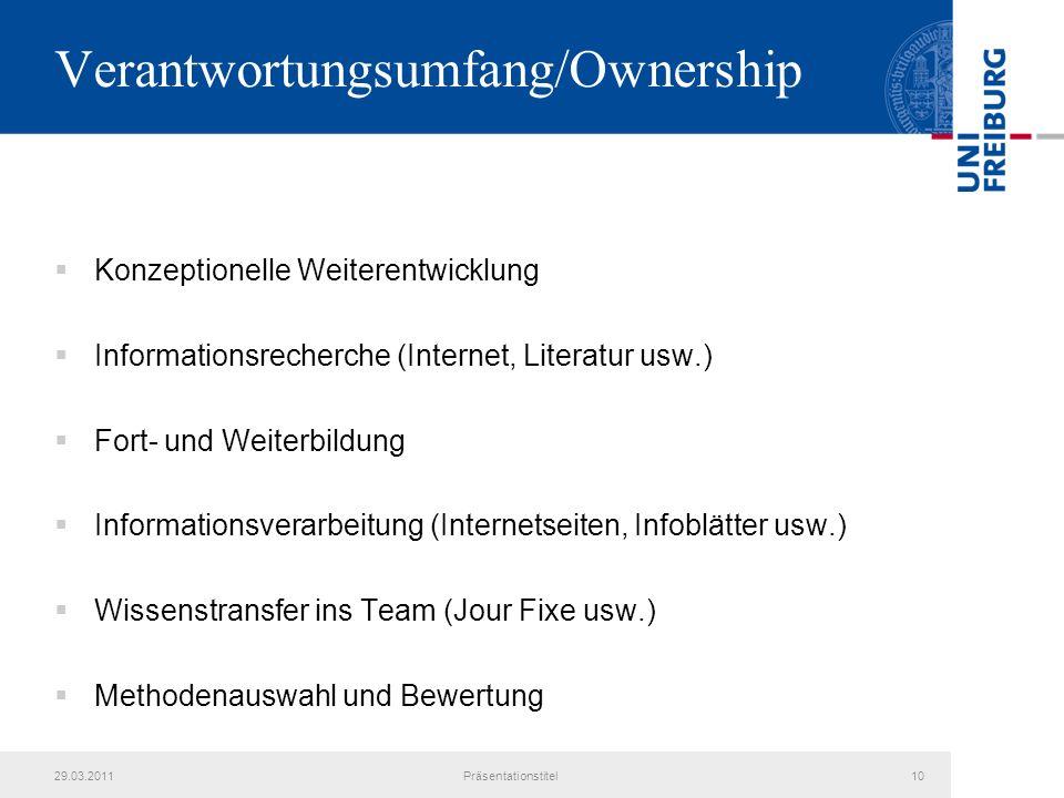 Verantwortungsumfang/Ownership Konzeptionelle Weiterentwicklung Informationsrecherche (Internet, Literatur usw.) Fort- und Weiterbildung Informationsv