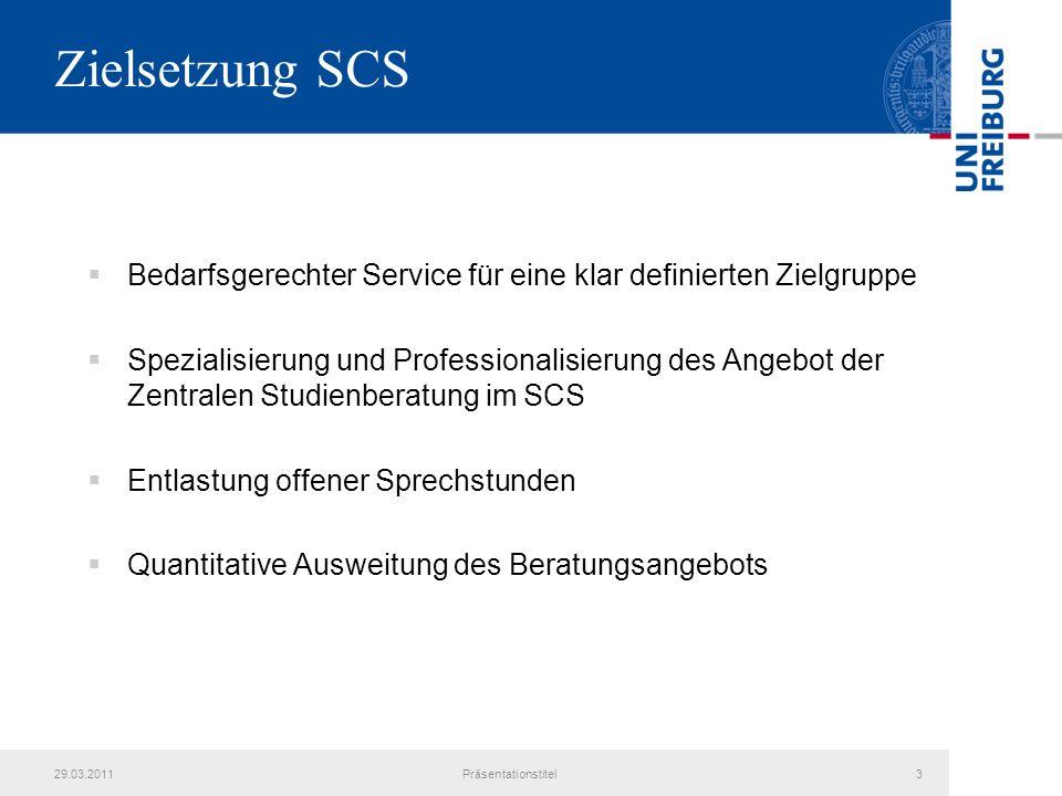Zielsetzung SCS Bedarfsgerechter Service für eine klar definierten Zielgruppe Spezialisierung und Professionalisierung des Angebot der Zentralen Studienberatung im SCS Entlastung offener Sprechstunden Quantitative Ausweitung des Beratungsangebots 29.03.2011Präsentationstitel3