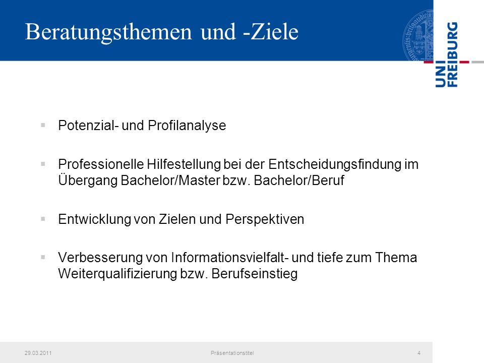 Beratungsthemen und -Ziele Potenzial- und Profilanalyse Professionelle Hilfestellung bei der Entscheidungsfindung im Übergang Bachelor/Master bzw.