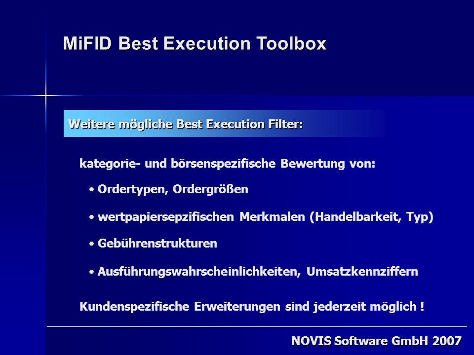 NOVIS Software GmbH 2007 MiFID Best Execution Toolbox Weitere mögliche Best Execution Filter: Ordertypen, Ordergrößen Gebührenstrukturen Ausführungswa
