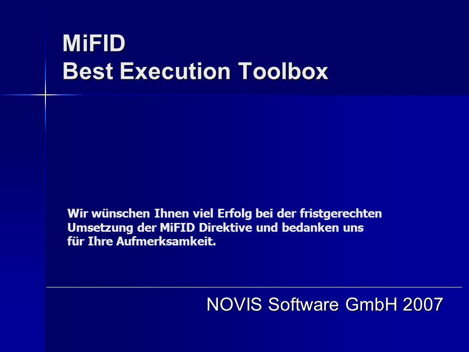 MiFID Best Execution Toolbox NOVIS Software GmbH 2007 Wir wünschen Ihnen viel Erfolg bei der fristgerechten Umsetzung der MiFID Direktive und bedanken