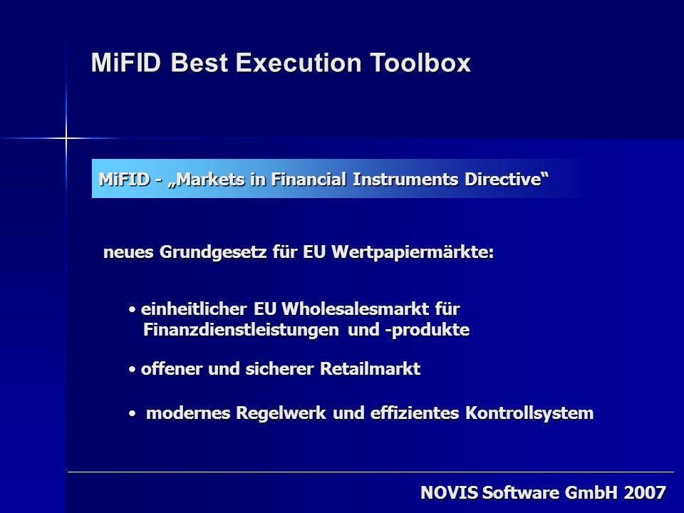 MiFID Best Execution Toolbox MiFID - Markets in Financial Instruments Directive e einheitlicher EU Wholesalesmarkt für Finanzdienstleistungen und -pro