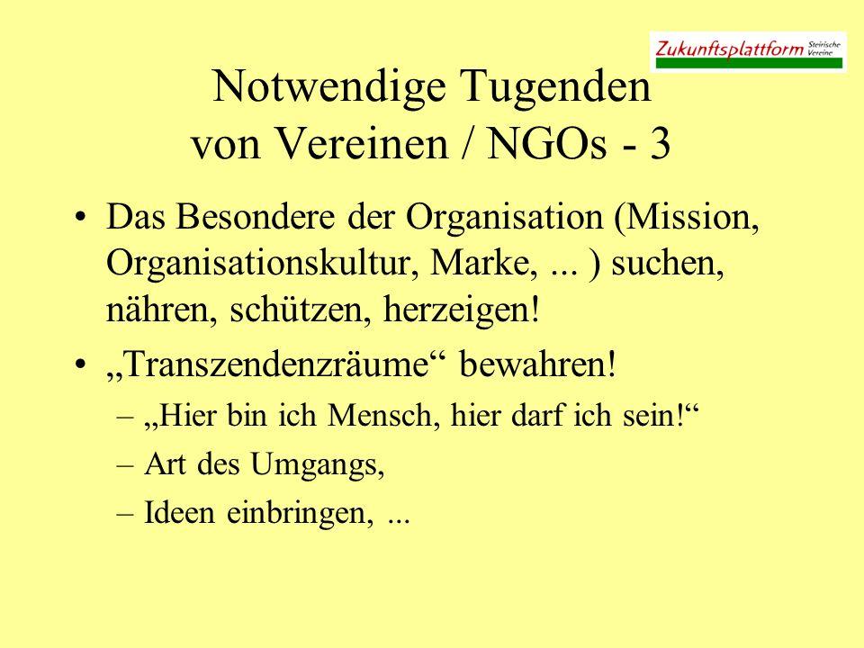 Notwendige Tugenden von Vereinen / NGOs - 3 Das Besondere der Organisation (Mission, Organisationskultur, Marke,... ) suchen, nähren, schützen, herzei