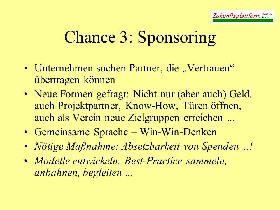 Chance 3: Sponsoring Unternehmen suchen Partner, die Vertrauen übertragen können Neue Formen gefragt: Nicht nur (aber auch) Geld, auch Projektpartner,