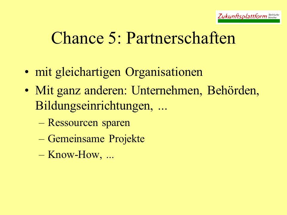 Chance 5: Partnerschaften mit gleichartigen Organisationen Mit ganz anderen: Unternehmen, Behörden, Bildungseinrichtungen,... –Ressourcen sparen –Geme