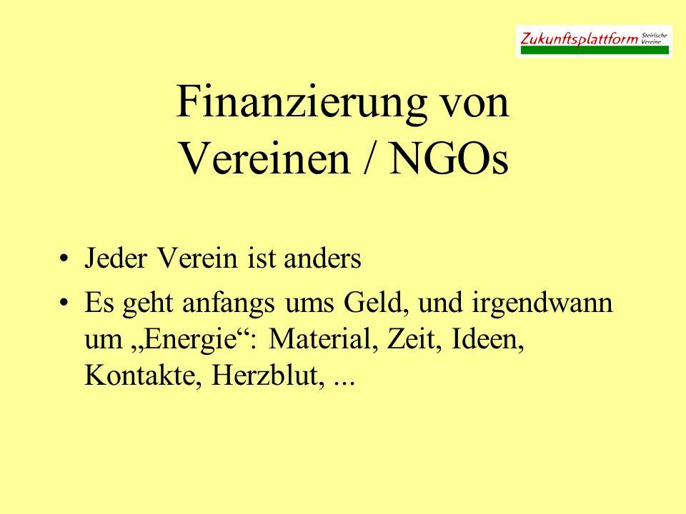 Finanzierung von Vereinen / NGOs Jeder Verein ist anders Es geht anfangs ums Geld, und irgendwann um Energie: Material, Zeit, Ideen, Kontakte, Herzblu