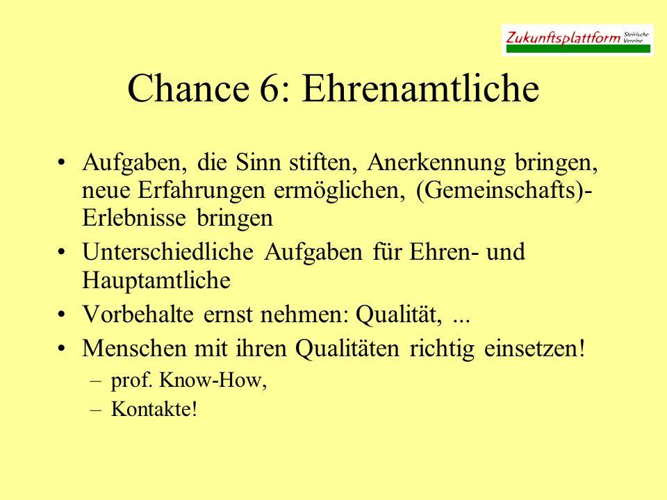 Chance 6: Ehrenamtliche Aufgaben, die Sinn stiften, Anerkennung bringen, neue Erfahrungen ermöglichen, (Gemeinschafts)- Erlebnisse bringen Unterschied