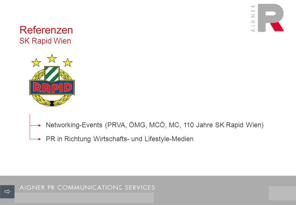 Referenzen SK Rapid Wien 26/29 Networking-Events (PRVA, ÖMG, MCÖ, MC, 110 Jahre SK Rapid Wien) PR in Richtung Wirtschafts- und Lifestyle-Medien