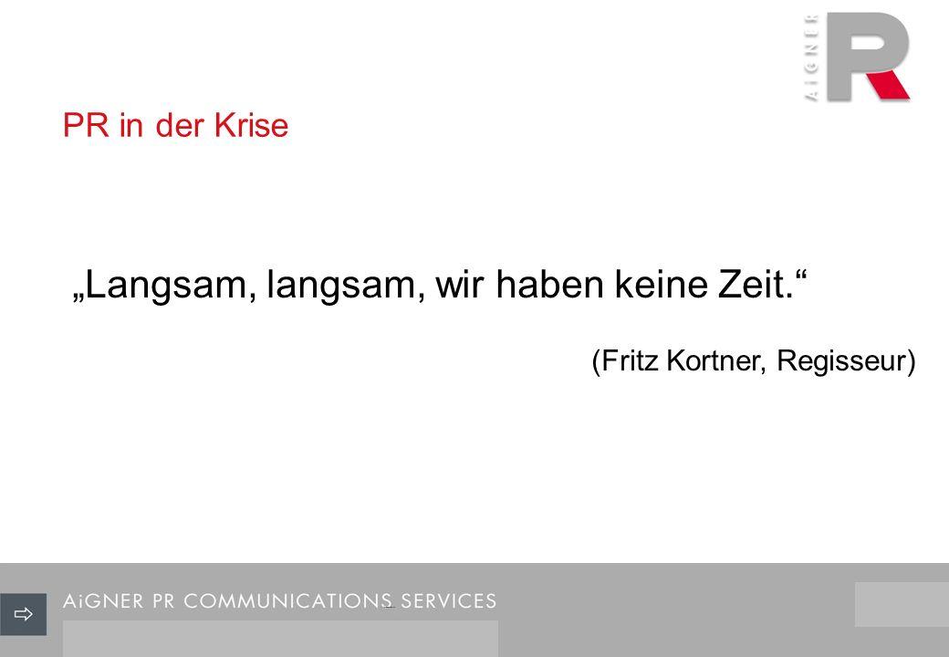 PR in der Krise 3/29 Langsam, langsam, wir haben keine Zeit. (Fritz Kortner, Regisseur)