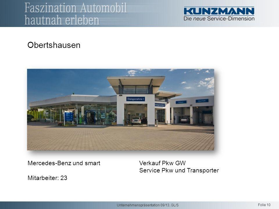 Folie 10 Unternehmenspräsentation 09/13, GL/S Mercedes-Benz und smartVerkauf Pkw GW Service Pkw und Transporter Mitarbeiter: 23 Obertshausen