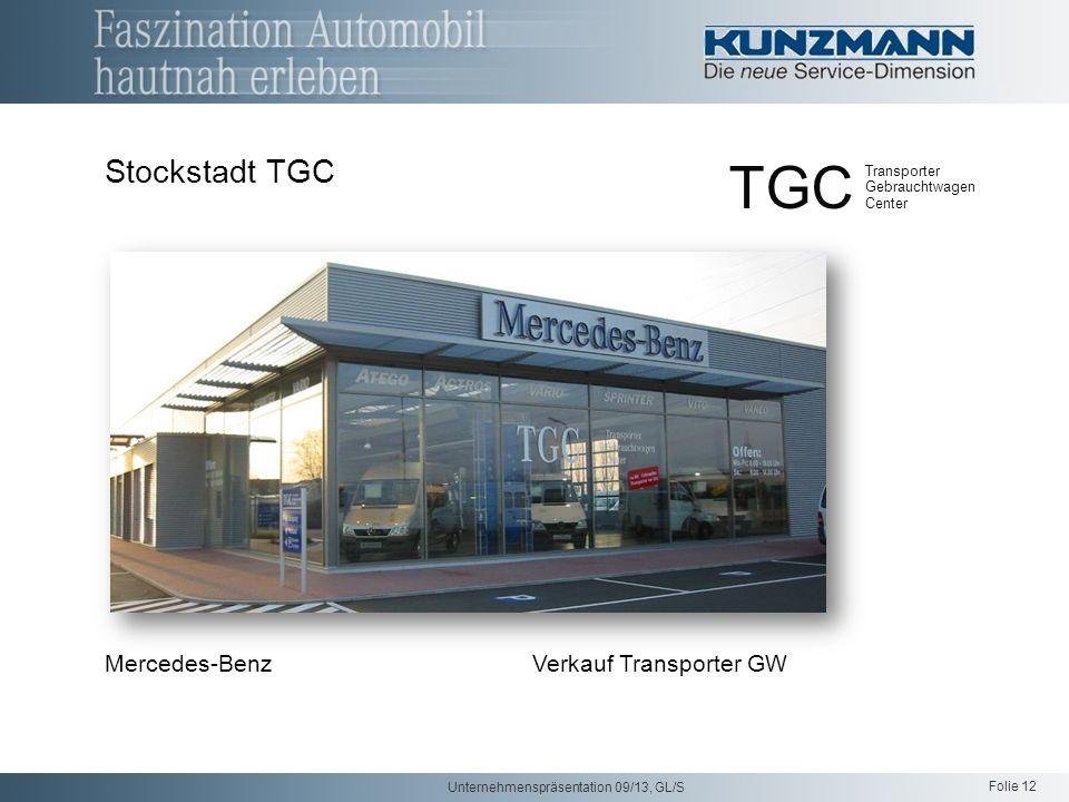 Folie 12 Unternehmenspräsentation 09/13, GL/S Mercedes-Benz Verkauf Transporter GW Stockstadt TGC TGC Transporter Gebrauchtwagen Center
