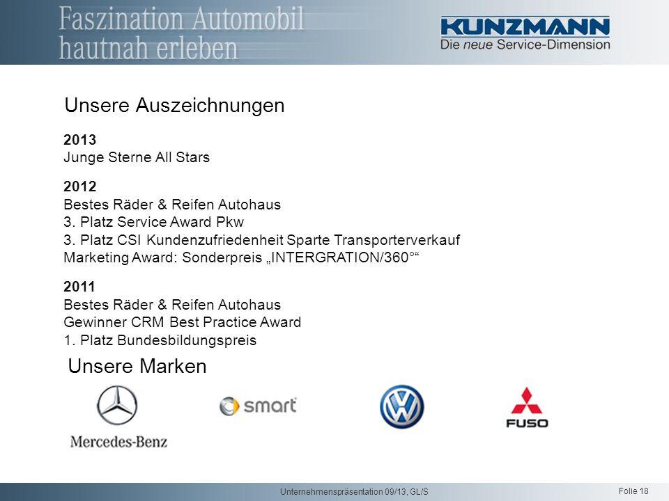 Folie 18 Unternehmenspräsentation 09/13, GL/S Unsere Marken Unsere Auszeichnungen 2013 Junge Sterne All Stars 2012 Bestes Räder & Reifen Autohaus 3.