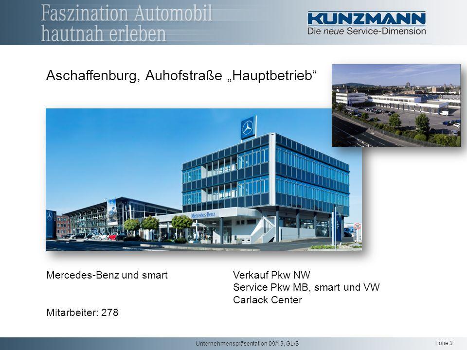 Folie 3 Unternehmenspräsentation 09/13, GL/S Aschaffenburg, Auhofstraße Hauptbetrieb Mercedes-Benz und smart Verkauf Pkw NW Service Pkw MB, smart und VW Carlack Center Mitarbeiter: 278