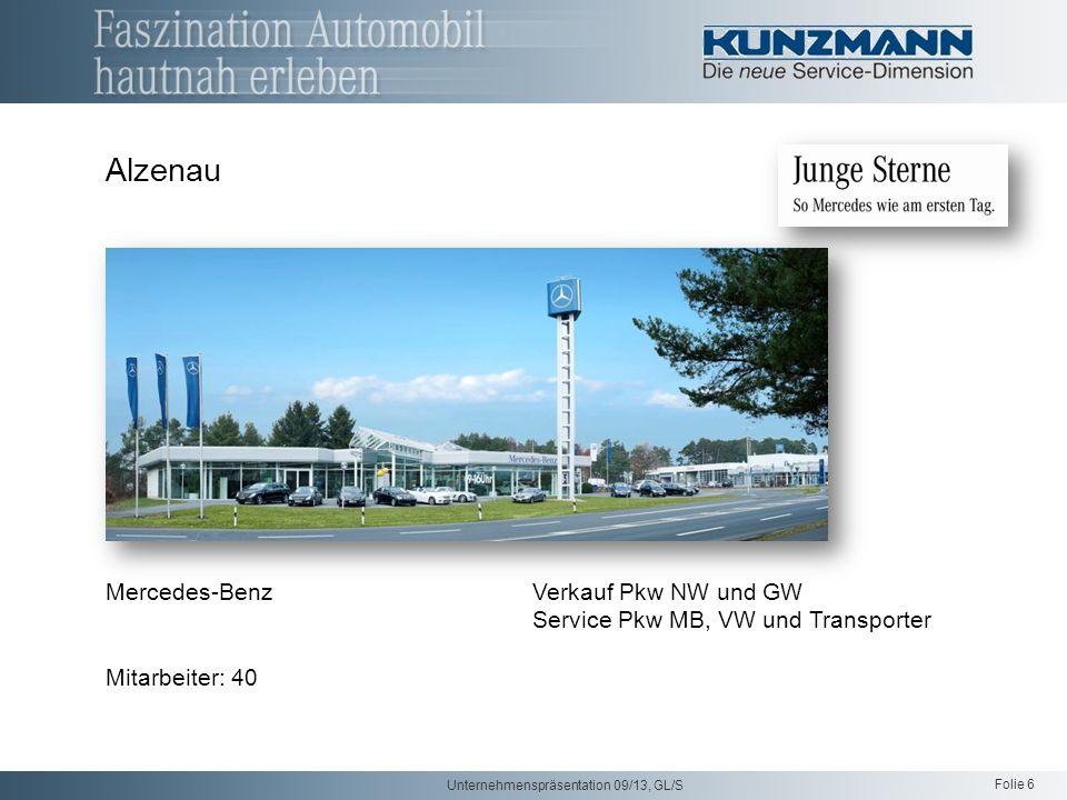 Folie 6 Unternehmenspräsentation 09/13, GL/S Alzenau Mercedes-Benz Verkauf Pkw NW und GW Service Pkw MB, VW und Transporter Mitarbeiter: 40