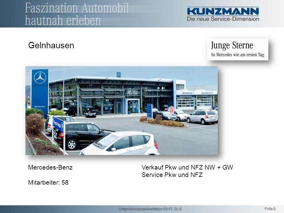 Folie 8 Unternehmenspräsentation 09/13, GL/S Gelnhausen Mercedes-Benz Verkauf Pkw und NFZ NW + GW Service Pkw und NFZ Mitarbeiter: 58