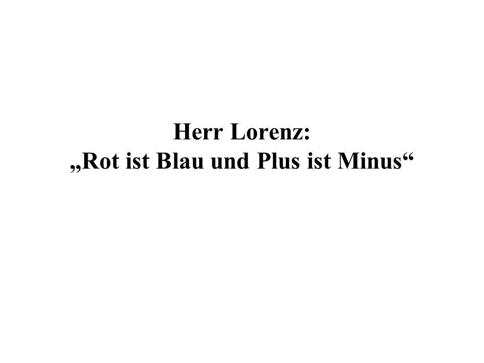 Herr Lorenz: Rot ist Blau und Plus ist Minus