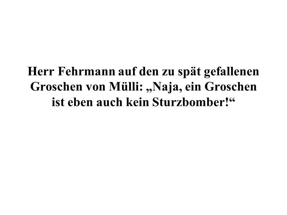 Herr Fehrmann auf den zu spät gefallenen Groschen von Mülli: Naja, ein Groschen ist eben auch kein Sturzbomber!