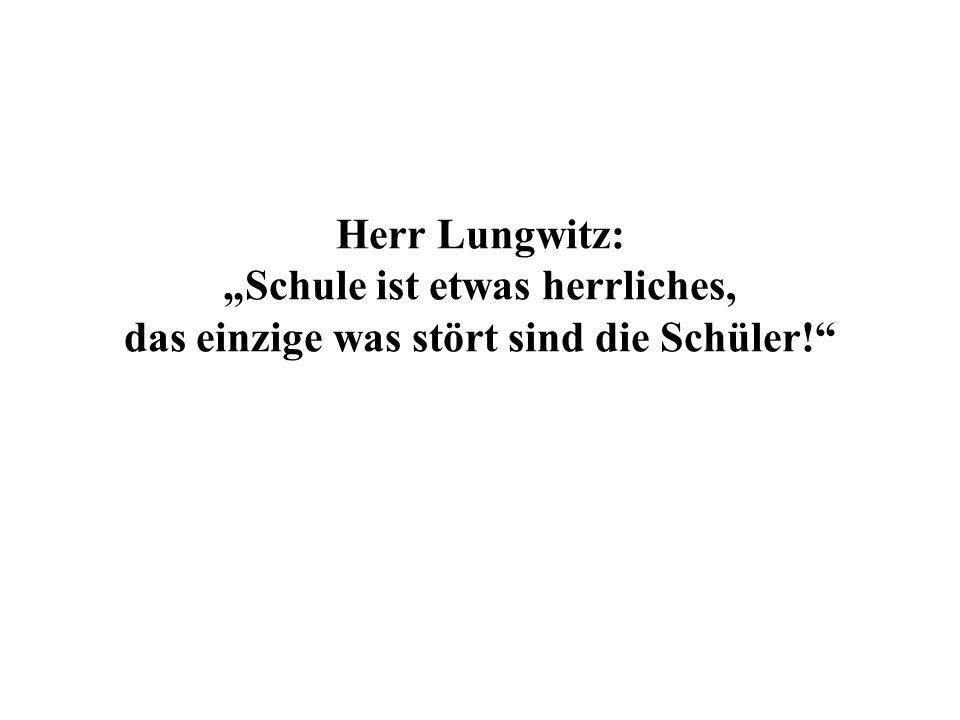 Herr Lungwitz: Schule ist etwas herrliches, das einzige was stört sind die Schüler!