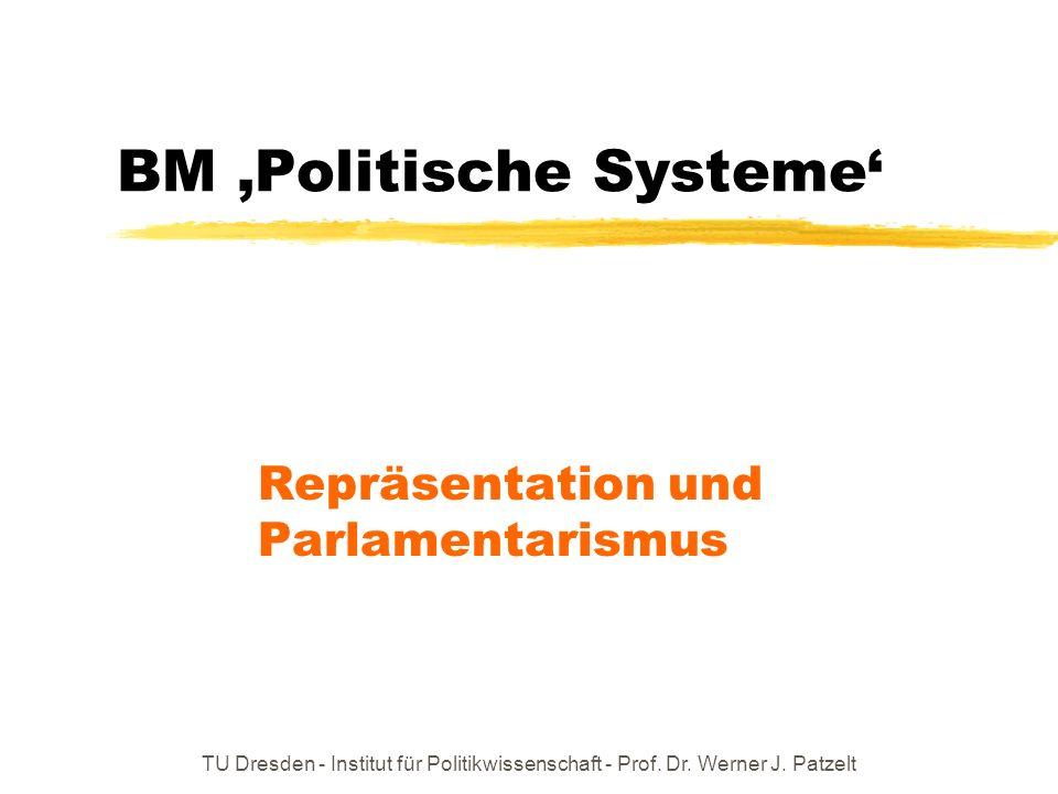 TU Dresden - Institut für Politikwissenschaft - Prof. Dr. Werner J. Patzelt BM Politische Systeme Repräsentation und Parlamentarismus
