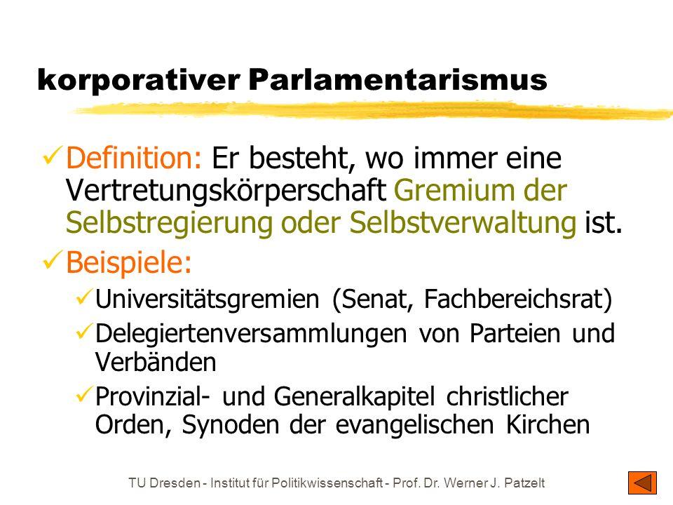 TU Dresden - Institut für Politikwissenschaft - Prof. Dr. Werner J. Patzelt korporativer Parlamentarismus Definition: Er besteht, wo immer eine Vertre