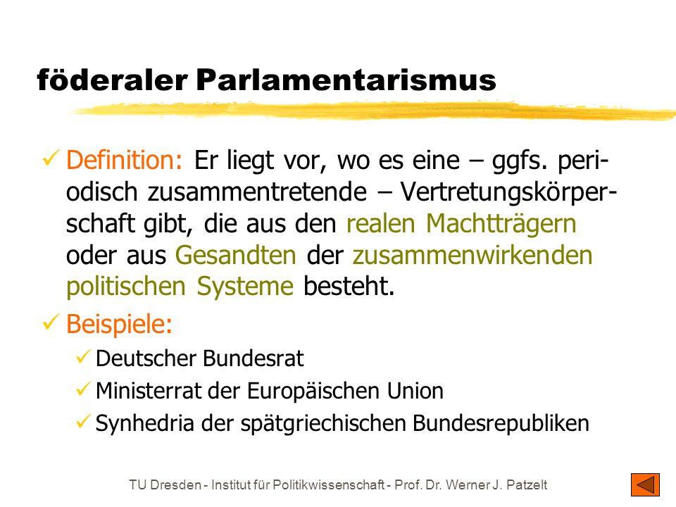 TU Dresden - Institut für Politikwissenschaft - Prof. Dr. Werner J. Patzelt föderaler Parlamentarismus Definition: Er liegt vor, wo es eine – ggfs. pe