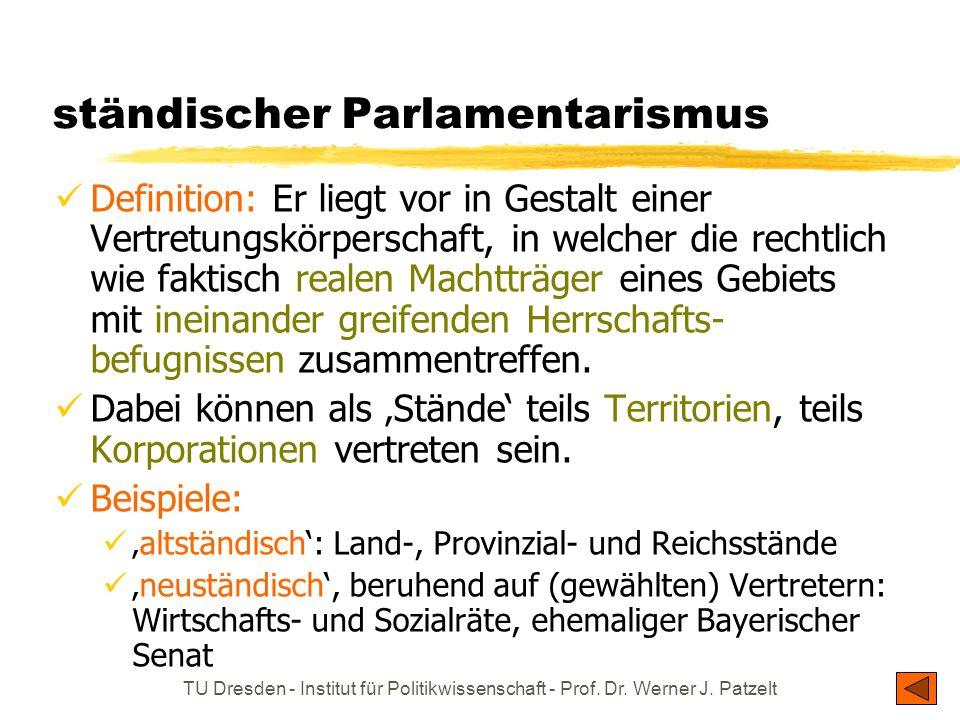 TU Dresden - Institut für Politikwissenschaft - Prof. Dr. Werner J. Patzelt ständischer Parlamentarismus Definition: Er liegt vor in Gestalt einer Ver