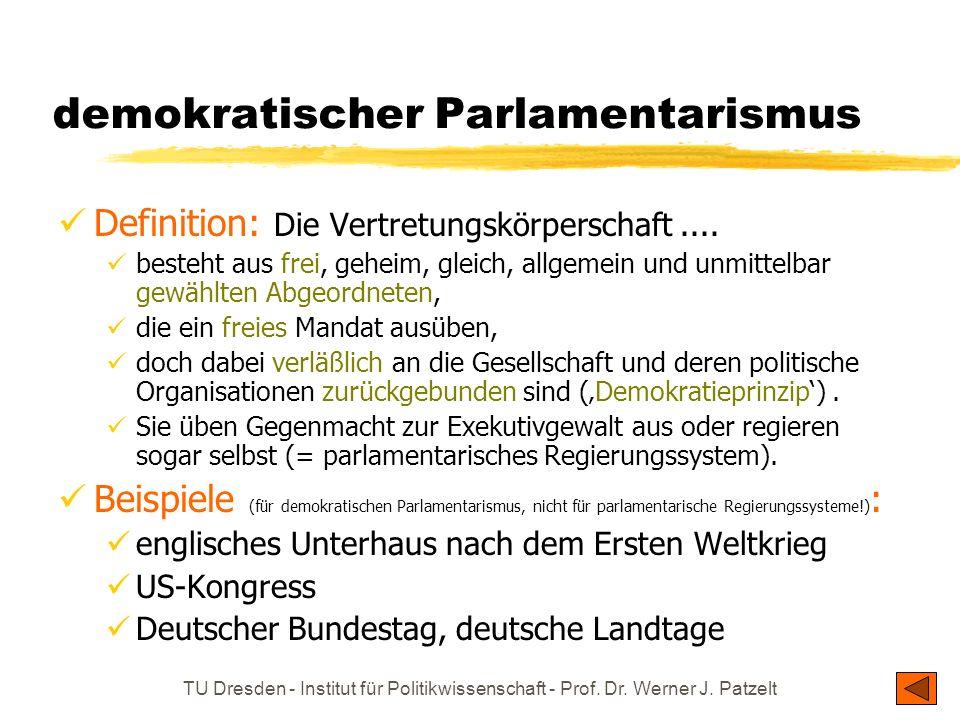 TU Dresden - Institut für Politikwissenschaft - Prof. Dr. Werner J. Patzelt demokratischer Parlamentarismus Definition: Die Vertretungskörperschaft...