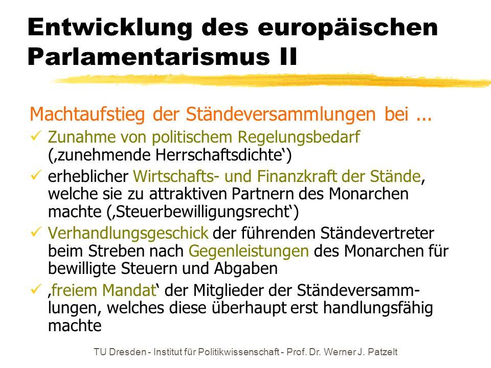 TU Dresden - Institut für Politikwissenschaft - Prof. Dr. Werner J. Patzelt Entwicklung des europäischen Parlamentarismus II Machtaufstieg der Ständev